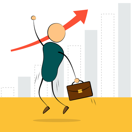 earnings: Vector cartoon illustration businessman with a portfolio jump on background growing chart. Concept of successful employee, good job, earnings growth Illustration