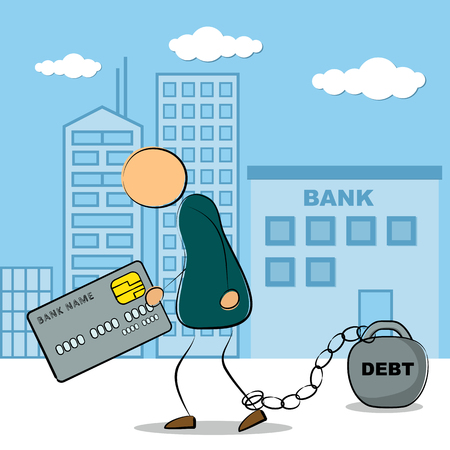 chained: Vector illustration. Drawing. Businessman going from bank building with credit card and chained with debt in depression