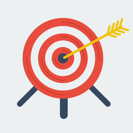 targeting: Targeting business vector concept. Flat icon. Target with arrow in center
