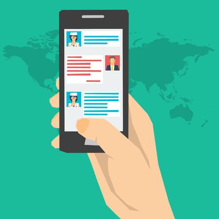 Vector concept online medische consultatie met de arts. Dialoog over de smartphone-scherm met uw arts. Vragen en antwoorden Online. Remote medische zorg. Web banner in vlakke stijl Vector Illustratie