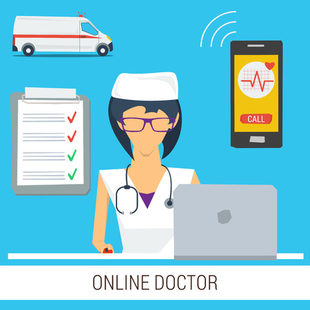 consultation woman: Vector concept online doctor medical consultation. Woman with stethoscope and computer ready to help online.  Ambulance car, smartphone and check list. Web banner in flat style