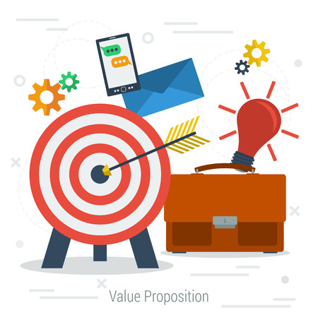 proposition: Vector value proposition concept. Icon target with arrow in center, business bag, lamp idea, mobile app, settings in flat style. Web infographics