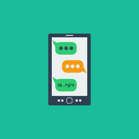 Vector cyberbullying concept. Bad bubble sms on screen smartphone, online aggression. Dangerous social networking. Flat style Illustration