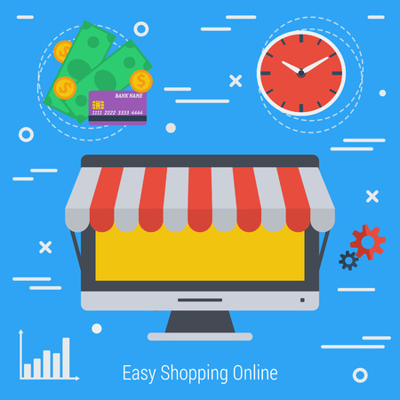 conveniently: Vector Concept online market. Easy methods shopping online. Infographics of online shopping. Computer market. fast convenient and safe using e-commerce. Flat style. Web infographics Illustration