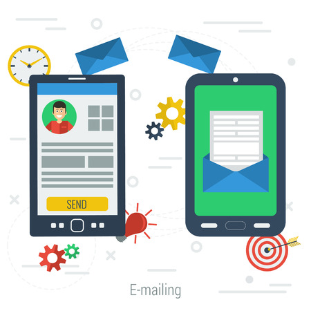 dealing: Two mobile phone connected with e-mail. Vector concept of communication and business dealing. One smartphone with personal account and other with received letter in flat style