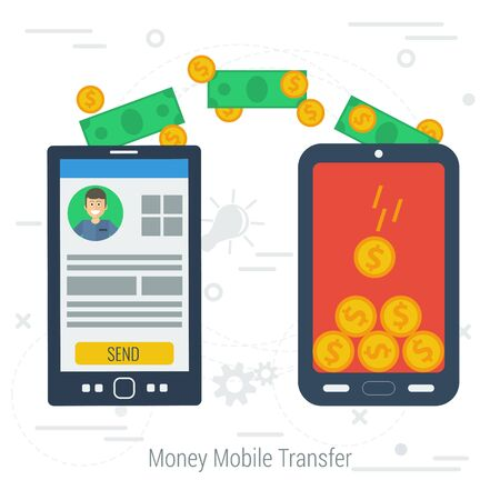 transfering: Vector concept mobile money transfering. Two smartphones with money transfer on white line background. Flat style. Web infographics Illustration
