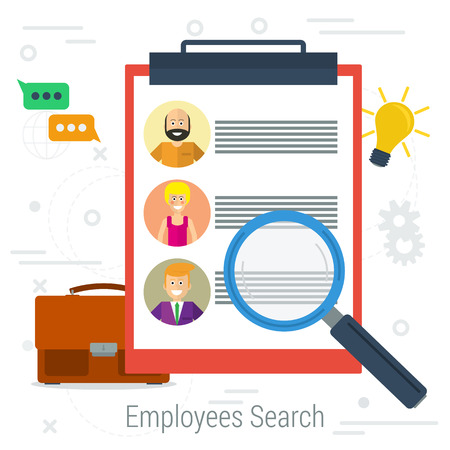 candidates: Vector flat concept employee search. List candidates to work with photos and skills description. Zoom magnifying glass picking business person with list of requirements.  Web infographics Illustration