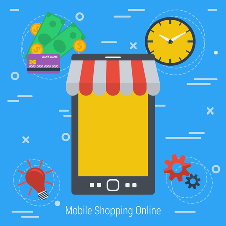 the convenient: Vector Concept Mobile online market. Easy methods shopping online. Infographics of online shopping. Mobile market. Fast, convenient and safe using e-commerce. Flat style. Web infographics