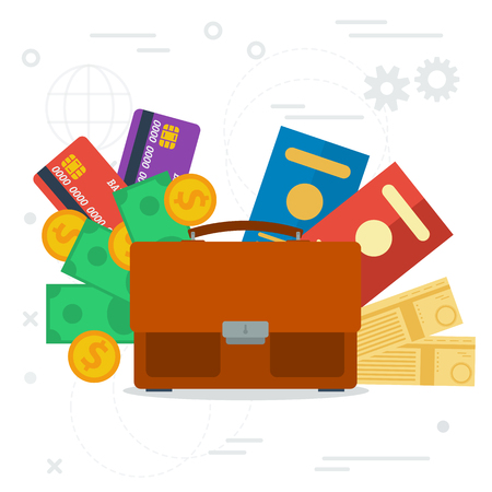 business trip: Vector concept business trip. Travel and tourism concept. Air tickets, passports, money and credit cards. Trip planning in flat style Illustration
