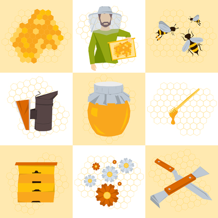 beekeeping: set of nine icons for beekeeping products. Man in clothes beekeeper with frame of honey in hand. Near hive, honey, bees on flowers, tools beekeeper, honeycomb. Flat style