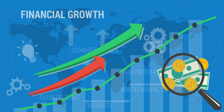 Concept financial growth, improvement, analytics, earnings growth. Arrows shows growth, money, banknotes and abstract lines and transparent elements. Flat style Illustration