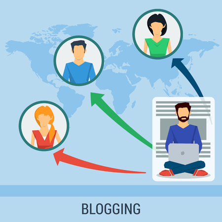 chat online: business concept blogging, chat online, communication. People around world read man blog.Concept the growth of popularity of the blog. Flat style