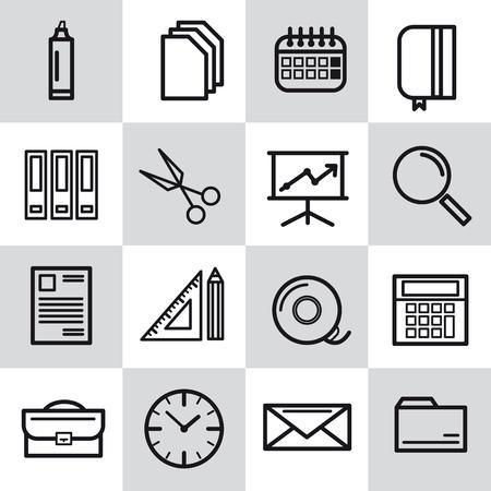 Office-Symbole Im Retro-Stil Mit Gemischten Farben, Der Trend Im ...