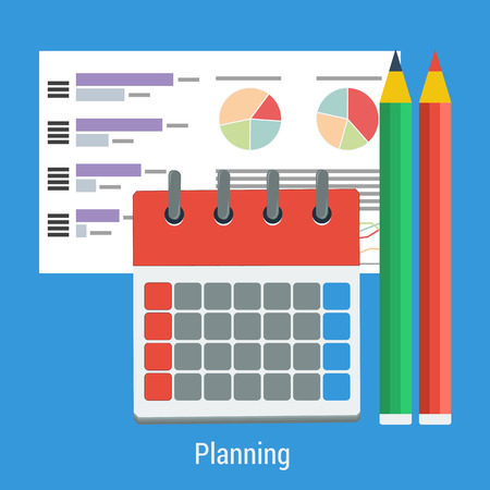 work task: Vector flat business concept - planning work task, time mamagment. Monthly calendar, pencils and graph sheet