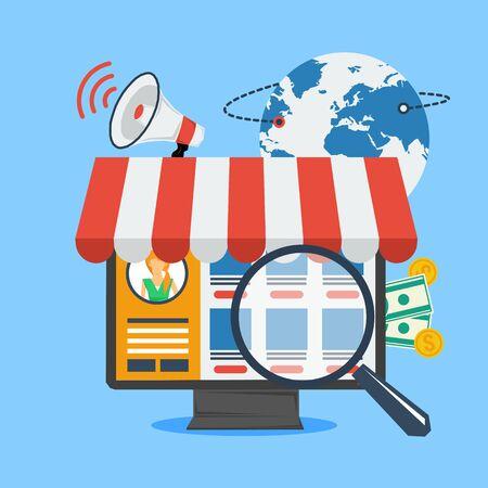 Vector concept online winkelen en internet winkelen. Computer met goederen op het scherm en zoeken vergrootglas. Bolplaneet, megafoon en geld op achtergrond. Vlakke stijl. Web infographics