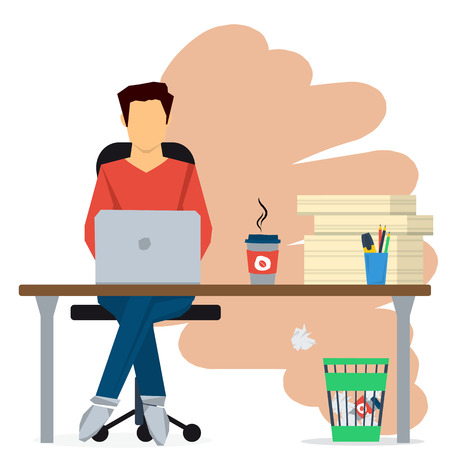 pile of paper: Man working on internet using computer. Sitting on chair at office desk with pile paper and cup of coffee. Vector concept work at home, freelance, efforts at work. Flat style. Web infographics