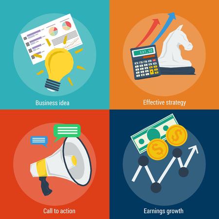 ganancias: Vector de infografía cuatro conceptos pasos para el éxito. idea de negocio, la planificación, la estrategia, el crecimiento de ingresos. Puesta en marcha. estilo plano. banderas de la tela para la publicidad y el fondo Vectores
