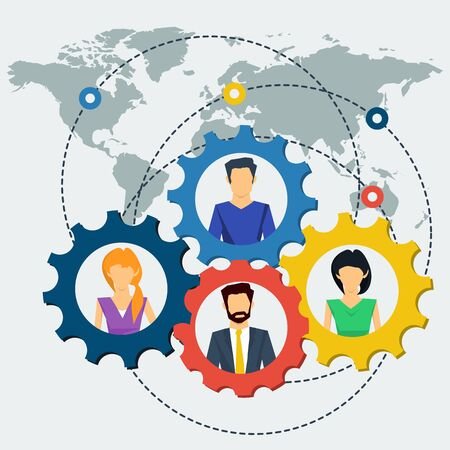 successfully: Vector concept world teamwork, social network. Team various of men and women working together successfully. Gears teamwork concept. Flat style. Web infographics