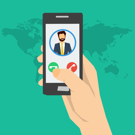 smartphone hand: Vector concept call to man or incoming call on smartphone. Hand holding smartphone with man avatar on screen and two buttons. Using a smartphone. Flat style. Web infographics