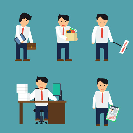 refusal: Vector set depressed businessman. Businessman with tablet, fired, busy working, with refusal. Man in shirt and tie. Businessman is in different situations. Vector illustration.