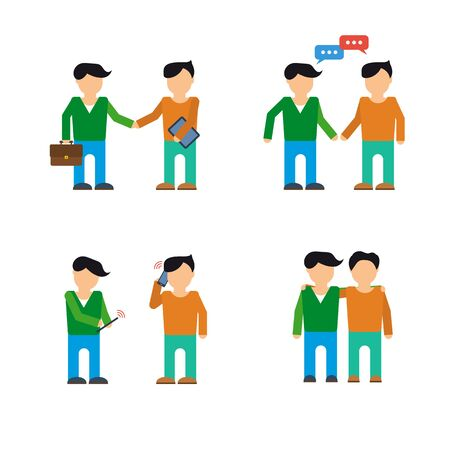 using smartphone: Vector set of two businessmen. Using smartphone and tablet, communicate with messages, friendship