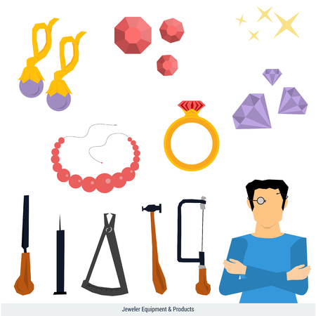 bead: Vector icons set of jeweler equipment and products. Man in magnifying glasses. Around him the tools - a hammer, compass, rasp, saw and jewelry - ring with stone, earrings, bead, gems. Flat style