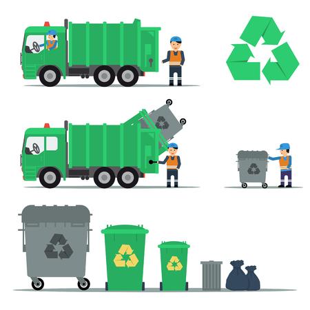 camion de basura: Vector conjunto plana de reciclaje de basura. Camiones, trabajadores y contenedores. M�quina enviar la basura. infograf�a web