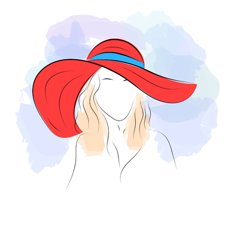 Vector illustration. Handdrawing. Silhouette woman in red summer hat on  watercolor background. Banner ee47dfb04c76