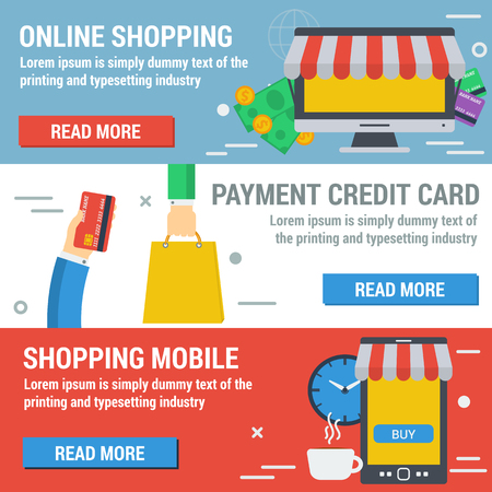 conveniently: Vector horizontal banners shopping online. Infographic of online payment, mobile shopping, convenient time for shopping. Credit card, cash and computer in flat style. Web infographics