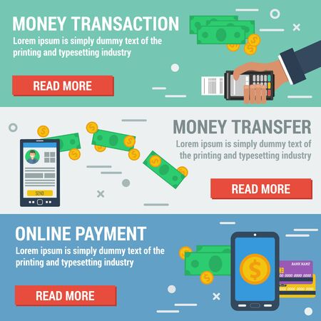 easy money: Vector horizontal banners online payment. Financial operation, money online transaction, banking online, easy money transfer in flat style