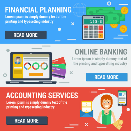 personal assistant: Vector horizontal banners financial accountant concept. Financial planning, online banking, accounting services in flat style. Web banners and elements Illustration