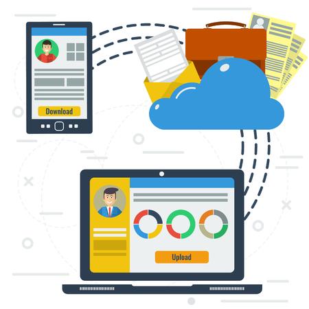 Pojęcie wektora przechowywania chmura Internecie. Dwóch robotników z smartfonem i komputerem używać dokumentacji chmurze. Płaski stylu. infografiki sieci Ilustracje wektorowe