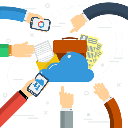 documentation: Vector concept online cloud storage. Two workers from smartphone and computer use a cloud storage documentation. Flat style. Web infographics