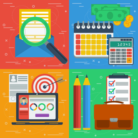managment: Vector square four business concept. Search e-mailing, design planning, finance and budget and internet managment. Flat style. Web infographics. Banners for advertising and background