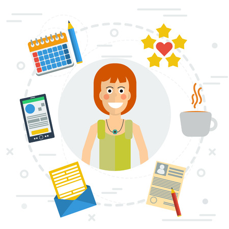 finance department: Vector concept of accounting services. Female accountant at working place, money, calculator, documentation, graphics. Flat style. Isolated web infographic