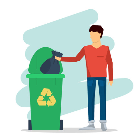 Vector flat set of garbage recycling. Truck, workers and containers. Machine ship the trash. Web infographic Illustration