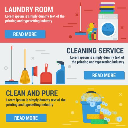bannières horizontal blanchisserie et de nettoyage. Service de nettoyage, salle de lavage et propre et pur. Concept nettoyage de bureaux, services et de nettoyage produits de nettoyage dans le style plat