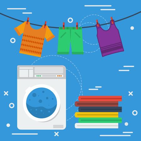 사각형 배너 세탁 개념입니다. 청소 서비스, 세탁실 및 개인 청소. 파란색 배경에 평면 스타일 로프에 건조 기계와 옷을 세탁기
