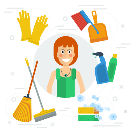 office products: cleaning lady concept in flat style. Happy girl with various cleaning items - mop, soap, gloves. Concept office cleaning, cleaning service and cleaning products.