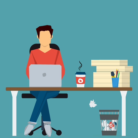 pile of paper: Man working on internet using computer and drinking coffee. Sitting on chair at office desk with pile paper near. concept work at home, freelance, efforts at work. Flat style. Web infographics