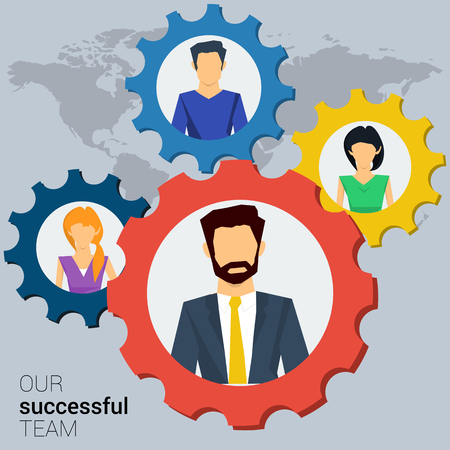 successfully: concept successful teamwork, social network. Team various of men and women working together successfully. Gears teamwork concept. Flat style. Web infographics Illustration