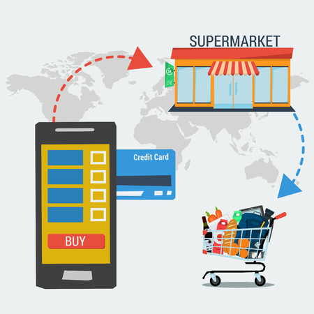 conveniently: concept easy shopping online and payment with credit cards. Infographics of mobile shopping, payment and fast delivery of goods from supermarket. Flat style. Web infographics Illustration