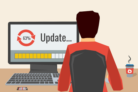 using computer: Man working on internet using computer where update software. He drinking coffee. Vector concept work at home, freelance, update process. Flat style. Web infographics. Back view