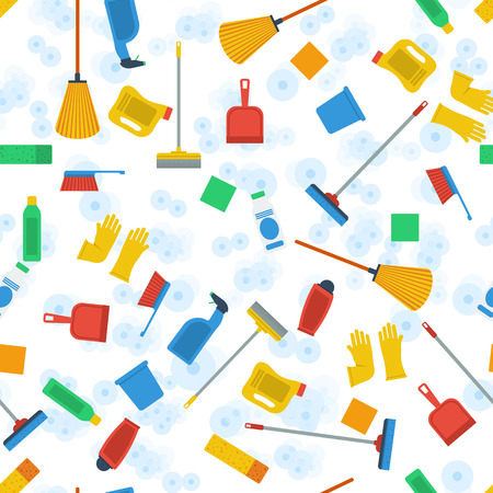 clean office: Vector seamless pattern on white background with cleaning items in flat style