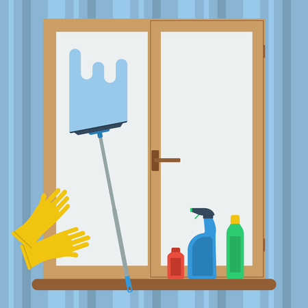 cleaning windows: Vector square banner concept cleaning windows. Mop, gloves and cleaning items near the dirty window in flat style