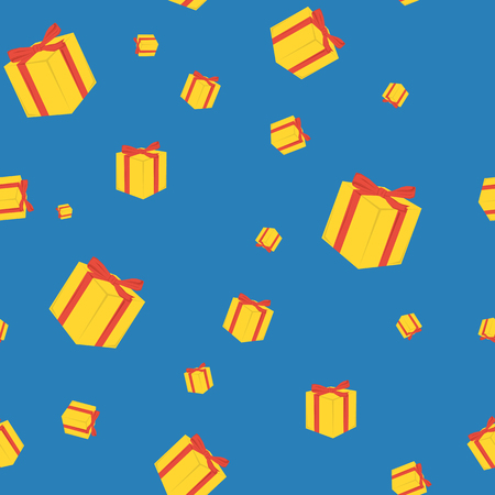 Vector seamless pattern on blue background with yellow gift boxes and red packing tape in flat style