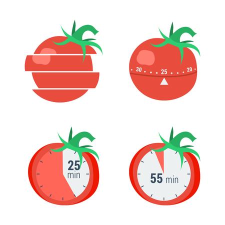 벡터 개념 시간 관리, pomodoro 메서드입니다. 플랫 스타일 화이트 절연 효과적인 분배 시간을위한 토마토의 형태로 타이머