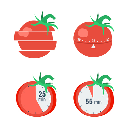 Vector concept time managment, pomodoro method. The timer in the form of tomato for effective distribution time isolated on white in flat style
