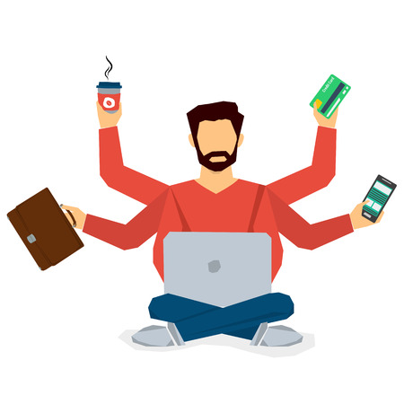 Vector concept multitasking businessman with six hand