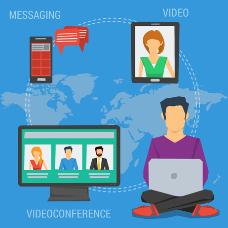 Vector square concept of internet communication, webinar online or training education in flat style. Man with laptop sending message, make videoconference with others in flat style on world map 向量圖像